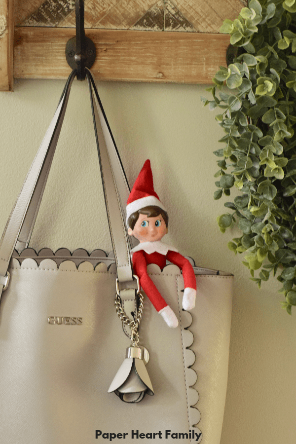 elf on the shelf hiding in mummys handbag - easy ideas for toddlers