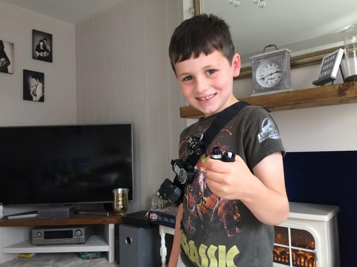 SpyX Micro Gear Set review - utility belt on boy