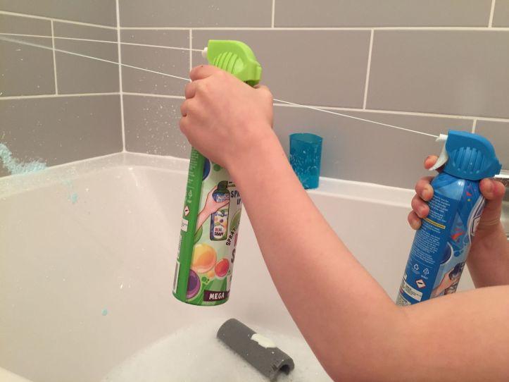 funatic foam bath and shower review - foam on boys hand