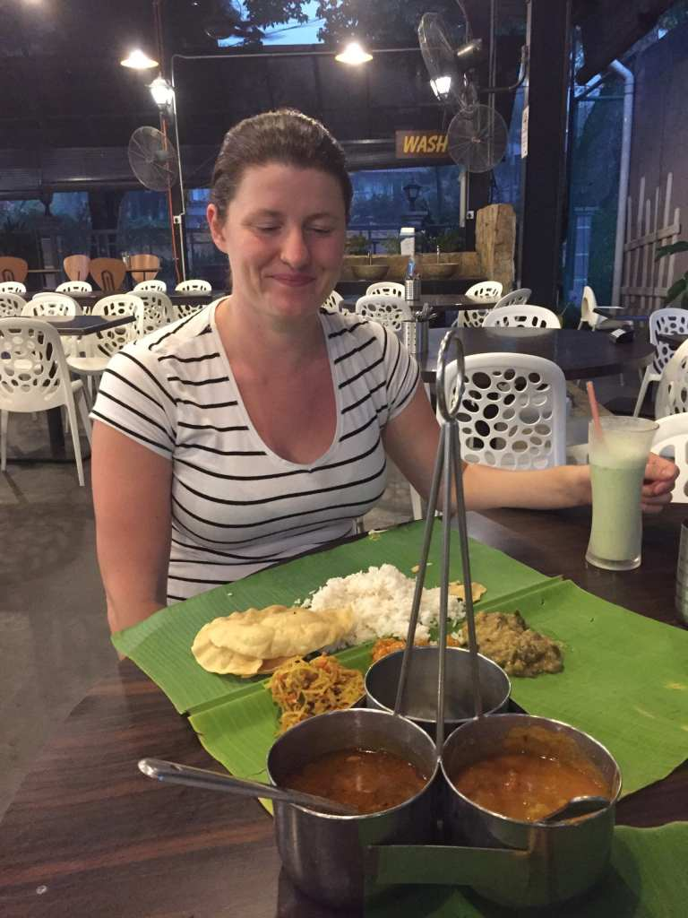 Eating Tamil Banana Leaf in a typical Malay food court