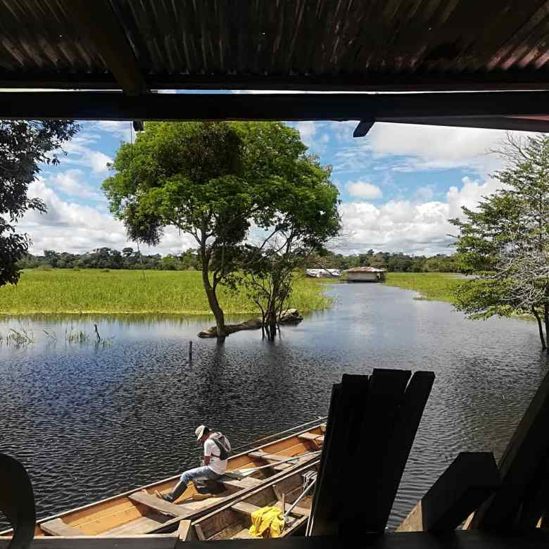 Relaxing in a stilt house on the Amazon