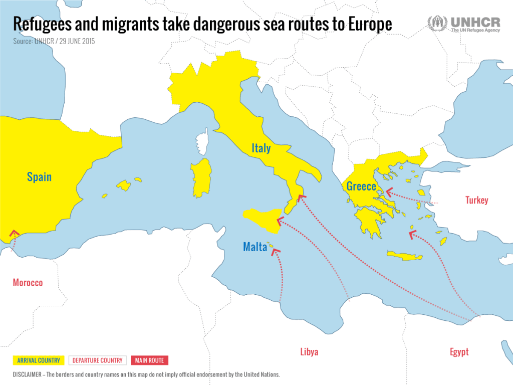 The refugee route in Europe 2018