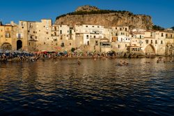 Looking over the beautiful sandy beach of Cefalu Italy