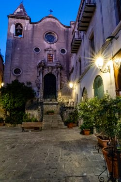 An unusally quiet time in front of a small church in Cefalu Italy