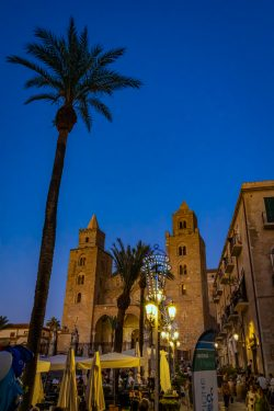 A view of Chiesa di Cefalù just after sunset