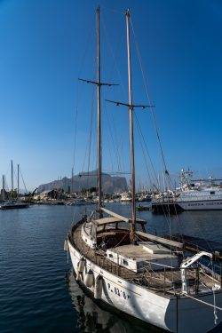 A view of boats in the Palermo harbor
