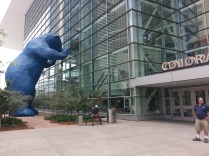 The 40-ft. tall Blue Bear peeking in the window of the Convention Center is one of the highlights of downtown Denver