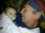 Grandpa cuddling with Harley