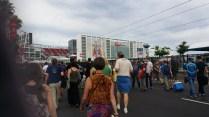 Walking toward Levi Stadium after disembarking the light rail