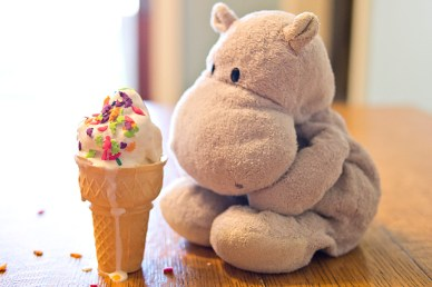 Tiny Hippo with Cone