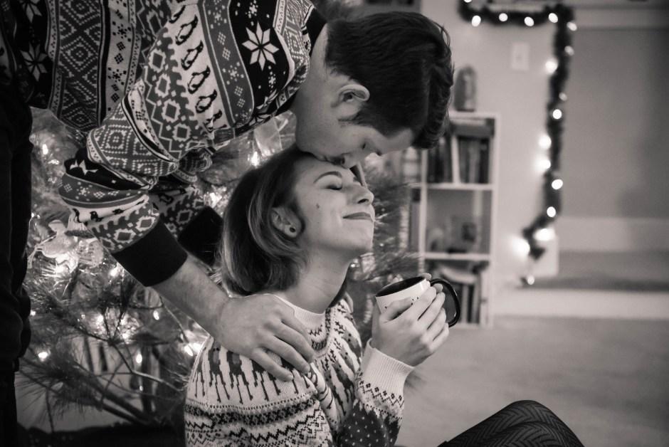 Forehead kiss by christmas tree, Babs Mullinax, me and grace, me & grace, Fort Wayne photographer, photo gifts, lifestyle photography, family photos, ideas for family photos, indoor photography, fun family photographer, long-distance family