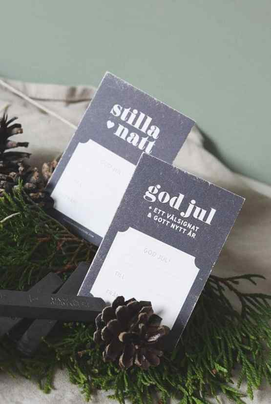 Julklappsetiketter i svart - 10-pack