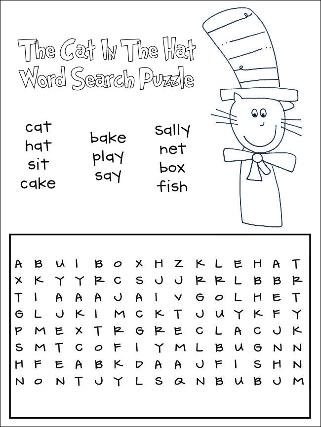 Cat in the Hat Word Search Puzzle Free Printable