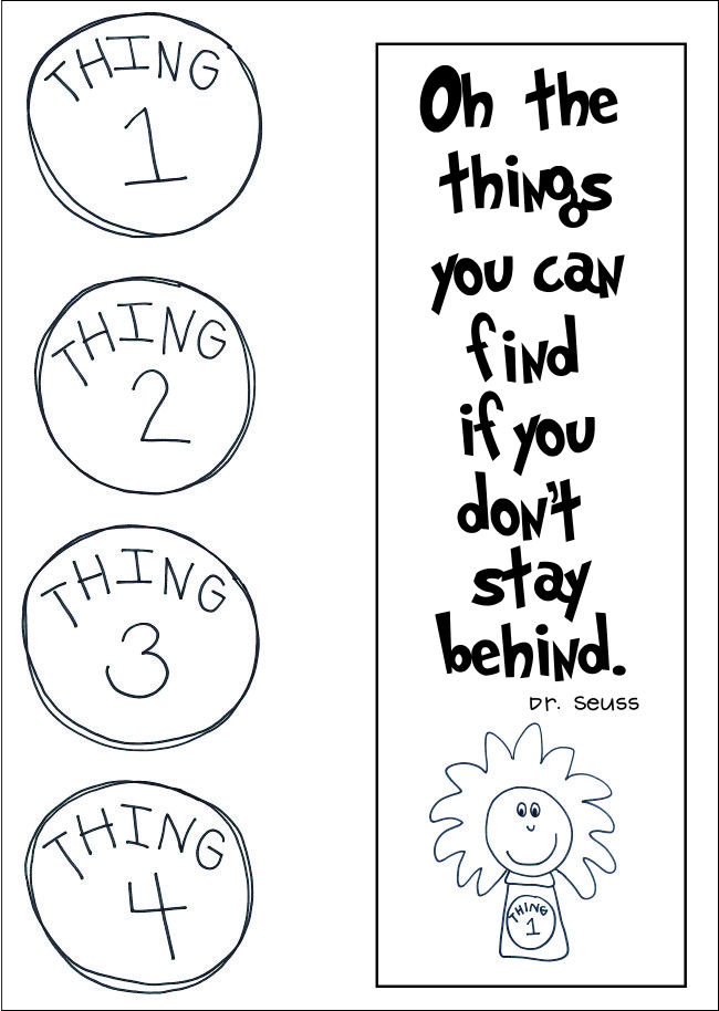 Dr. Seuss FREE Printable for Things One and Two