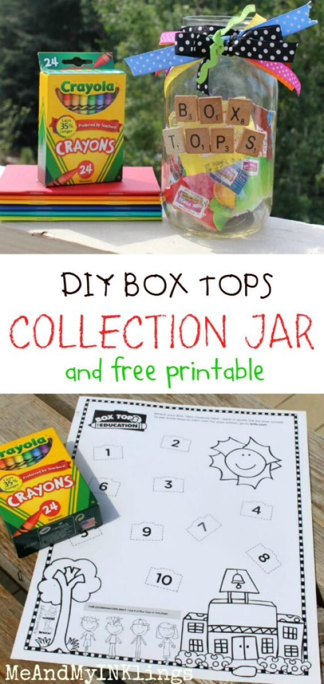DIY Boxtops BOX TOPS Collection Jar Printable