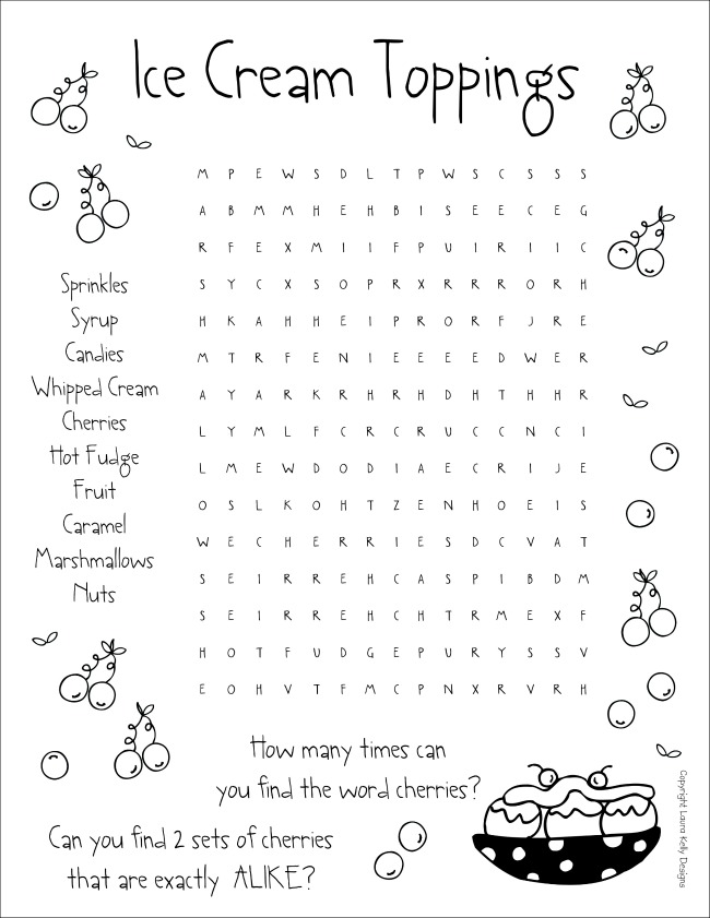 Ice Cream Toppings Word Search