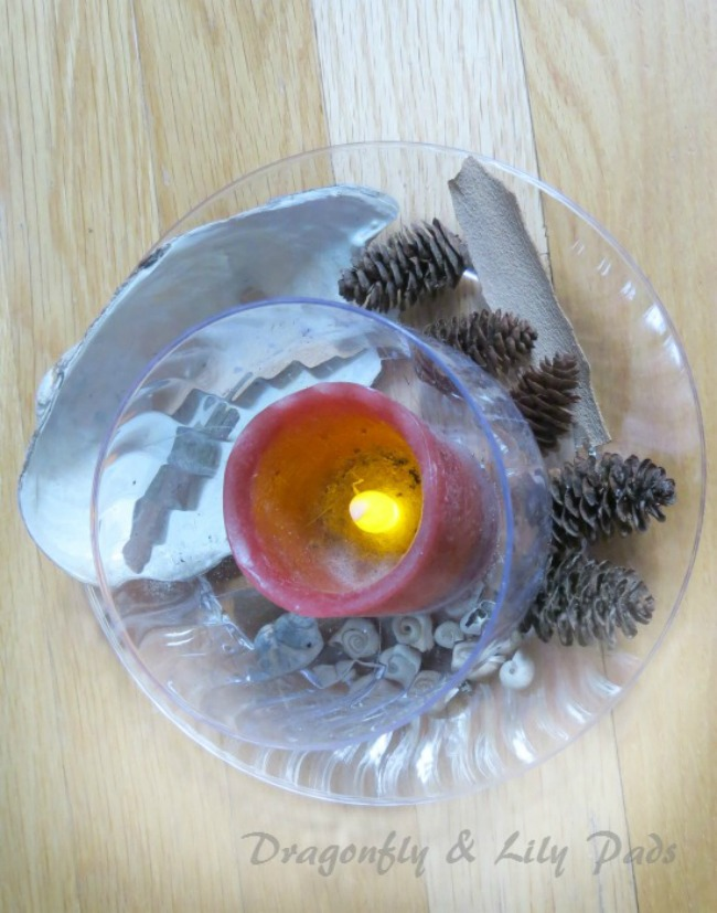 2016 D&LP Scout Post Angie Battery lighted Candle with Treasures sprinkeld on the Chinet Crystal Wine Glass & Dessert plate