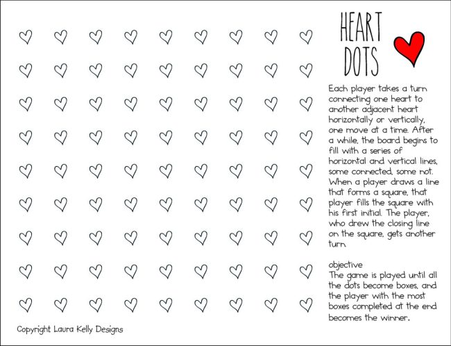 Valentine Printable Game FREE Dots Hearts