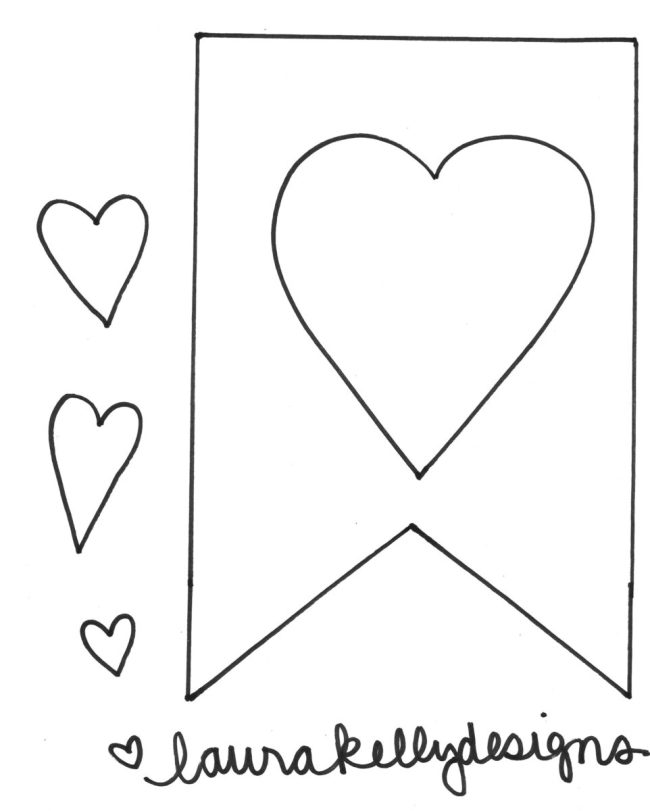 Pattern Printable for Valentine Garland with Hearts
