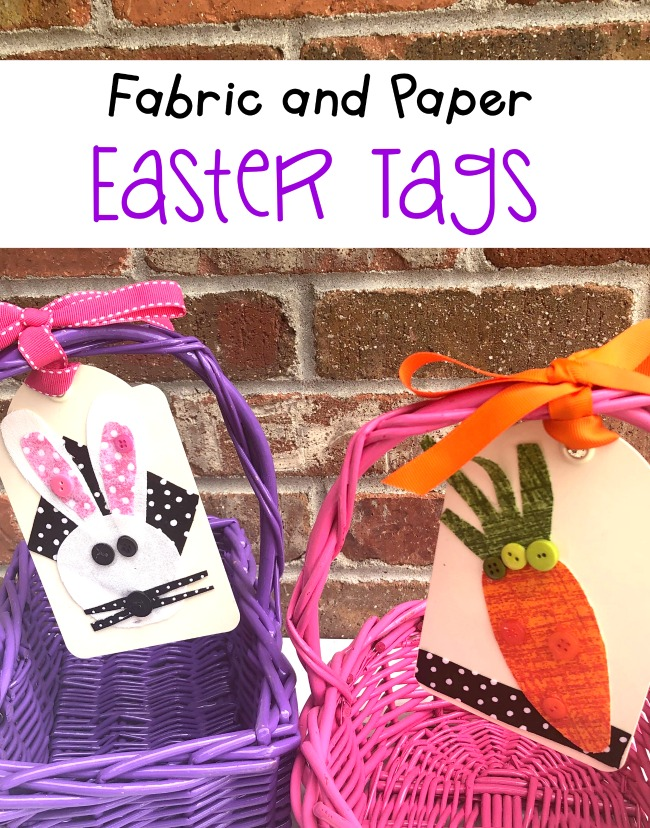 Easter Basket Tags Fabric and Paper DIY