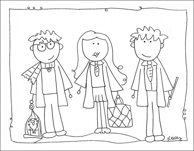 FREE Harry Potter Coloring Sheet with Ron Weasley and Hermine Grainger