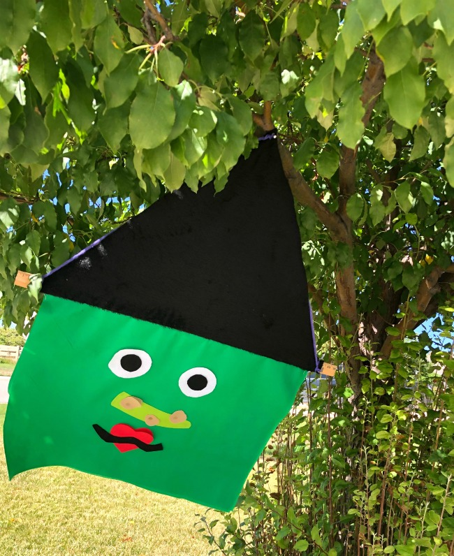 Giant Yard Witch in Tree for Halloween