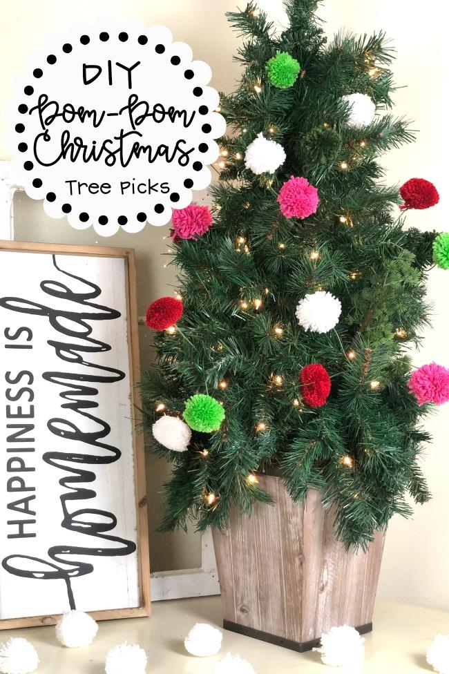 DIY Pom Pom Christmas Tree Picks