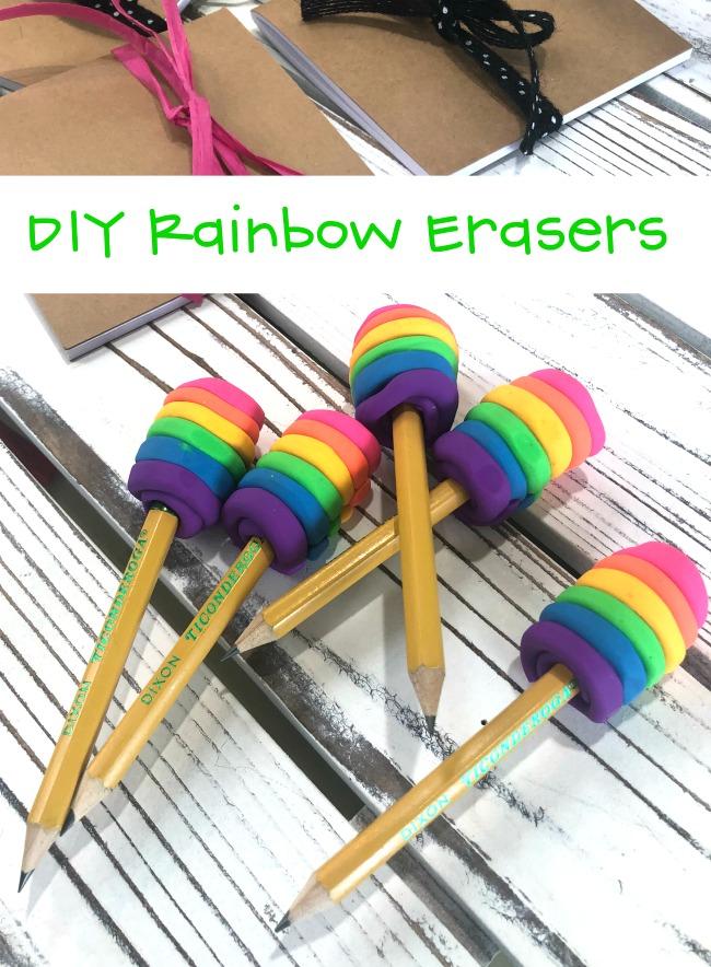 DIY Rainbow Erasers #diy #rainboweraser #clayeraser #eraserclay