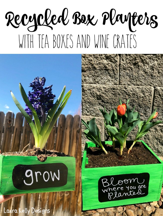 Recycled Box Planters with DecoArt