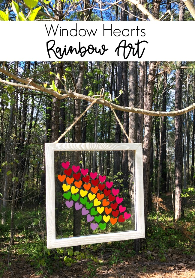 Window Hearts Rainbow Art