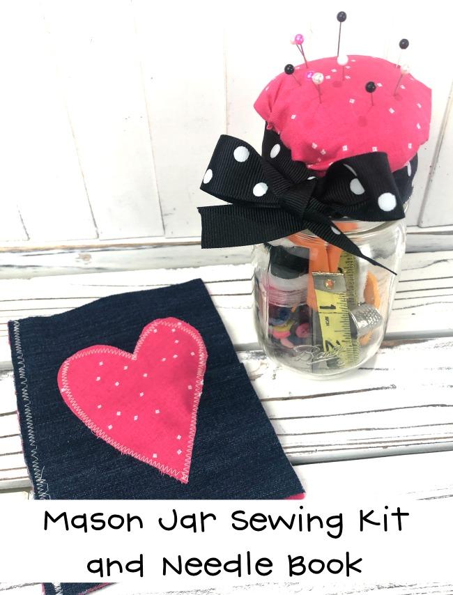 Mason Jar Sewing Kit and Needle Book