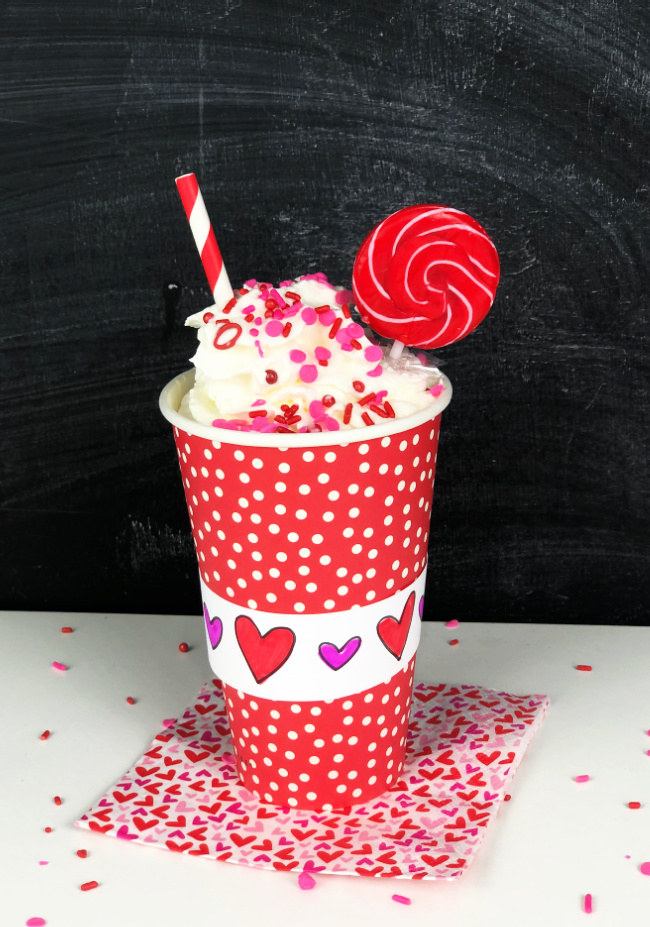 Free Printable Valentine Cup Decoration