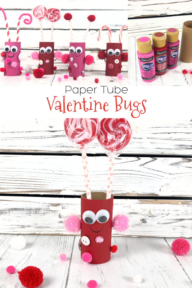 Paper Tube Bugs for Valentines Day