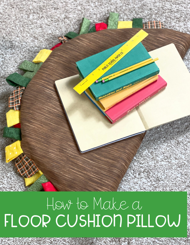 How to Make a Floor Cushion Pillow with NuFoam for Back to School #floorcushion #DIYpillow #tacopillow #laurakellydesigns