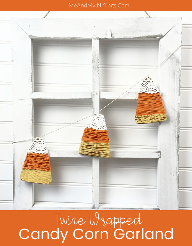 Candy Corn Garland Decor Twine Wrapped #candycorncraft #candycorngarland