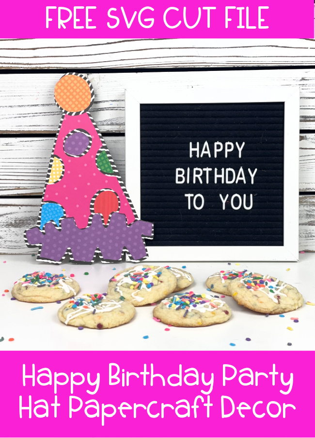 Happy Birthday Party Hat FREE SVG Cut File Decoration