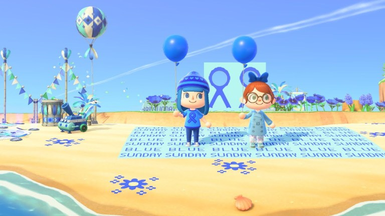 Two ACNH people wear blue and each hold a blue balloon