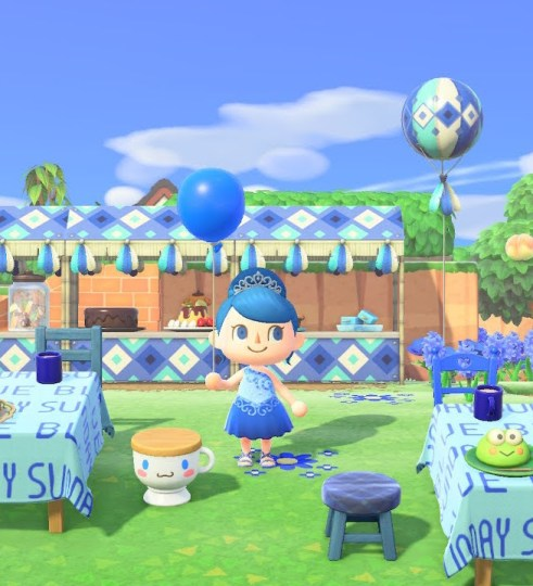 An ACNH person wearing a blue party dress and holding a blue balloon