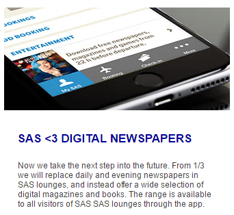 SAS lounge newspaper