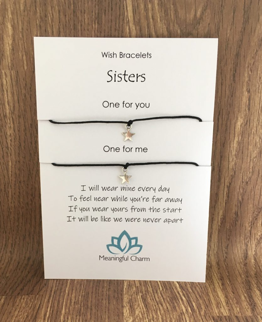 sisters wish bracelet set, sister gifts, message gift, long distance