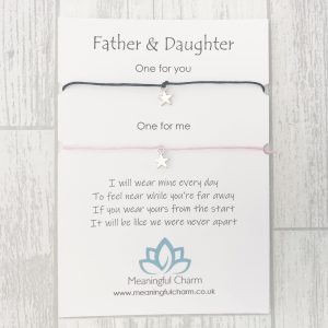 Father and Daughter Wish Bracelet Set, Distance Gift