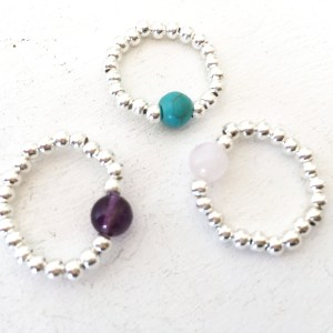 Gemstone stretchy Rings
