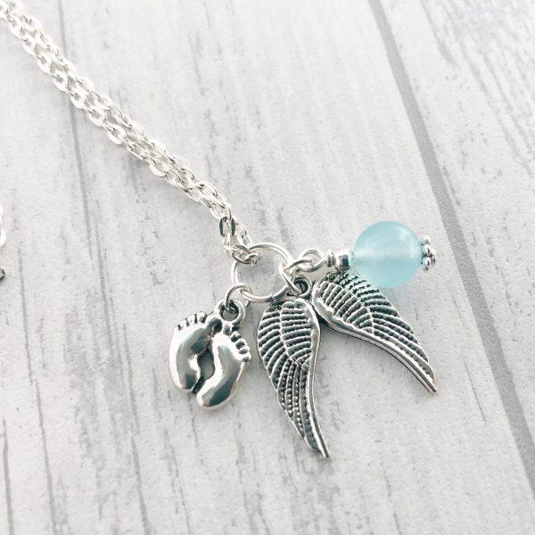 Baby memorial birthstone necklace