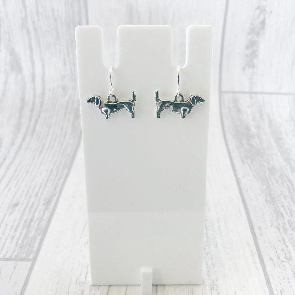 Silver Daschund Earrings Dog Earrings Minimalist