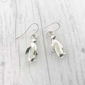 Penguin Earrings Silver Plated Dangly Drop