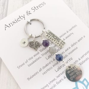 Anxiety Keyring, Anxiety Keychain, Anxiety Gifts, Mental Health Gifts, Crystal Healing