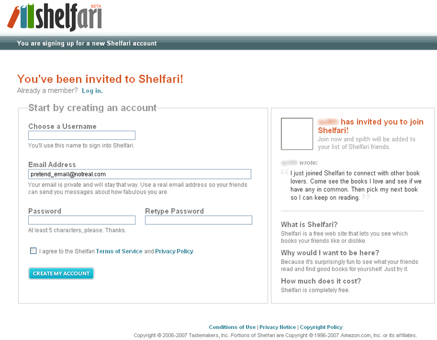 Shelfari Registration Page