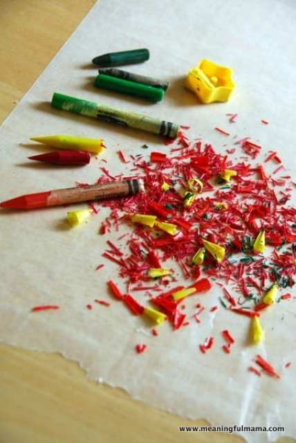 Crayon Leaf Wax Paper Craft