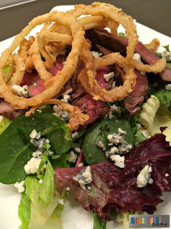 Mixed Green Gorgonzola Steak Salad with French Fried Onions and a Red ...