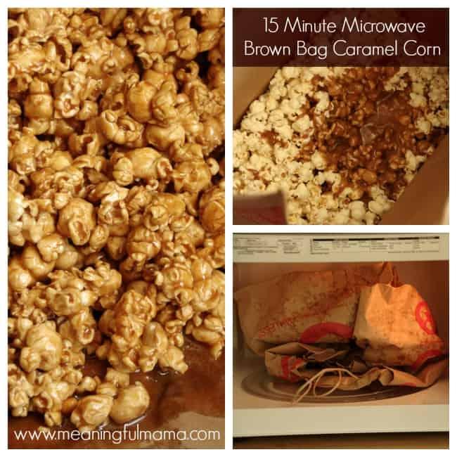 microwave brown bag caramel corn